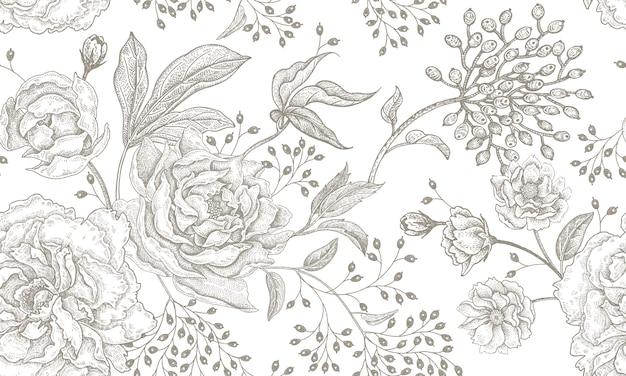 Patrón sin costuras vintage floral.