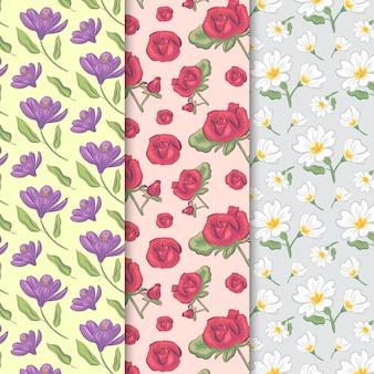 Patrón sin costuras vintage primavera con rosas y flores de campo