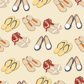 Patrón sin costuras con los zapatos