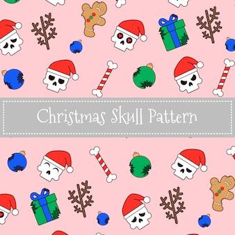 Patrón de cráneo de navidad santa claus