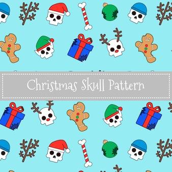 Patrón de cráneo de navidad
