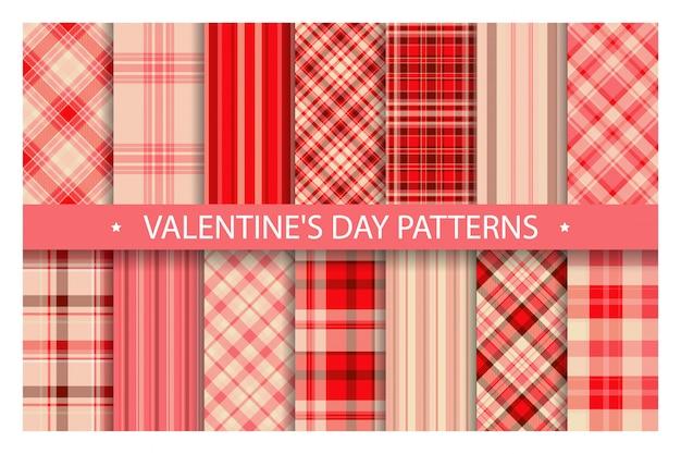 Patrón de cuadros sin costuras adornado. establecer fondo de vector de día de san valentín. colección de texturas de tela.