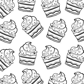 Patrón de cumpleaños lineart blanco y negro