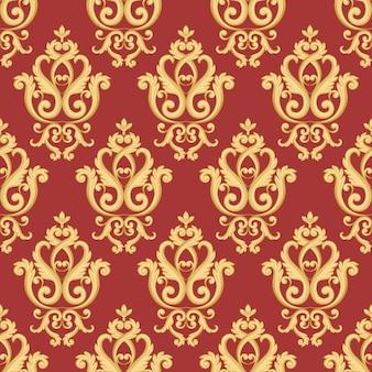 Patrón de damasco sin fisuras. textura dorada y roja en estilo real rico vintage. ilustracion vectorial