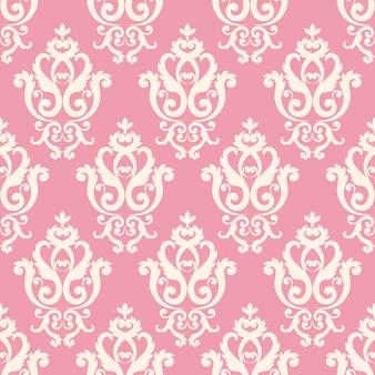 Patrón de damasco sin fisuras. textura rosada en estilo real rico vintage.