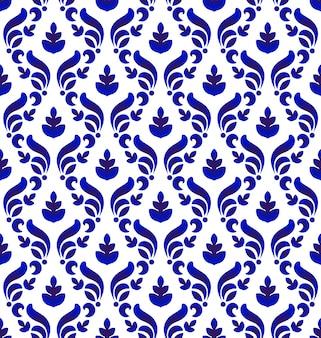 Patrón de damasco real azul y blanco sin costura