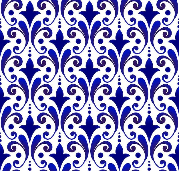 Patrón de damasco transparente floral