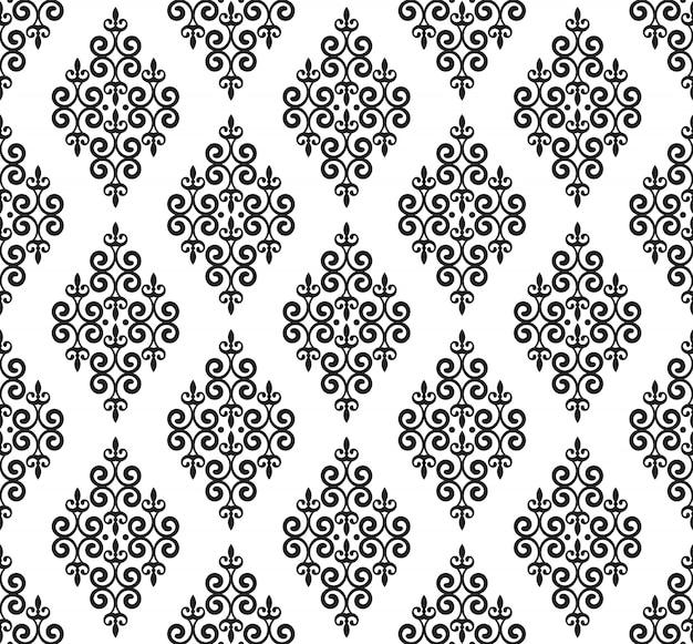 Patrón de damasco vintage, fondo barroco inconsútil, papel pintado decorativo floral