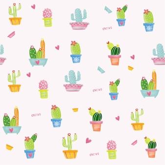 Patrón de acuarela pastel cactus inconsútil