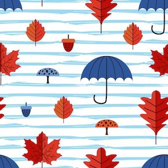 Patrón de bebé de hojas de otoño con paraguas y setas