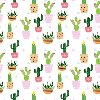 Patrón de cactus lindo inconsútil
