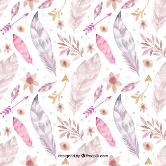 Patrón de estilo boho con plumas en acuarela