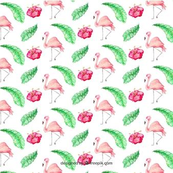 Patrón de flamencos con plantas en estilo acuarela