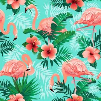 Patrón de flamencos rosados