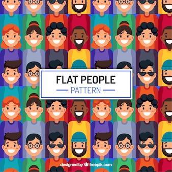 Patrón de gente colorido con estilo de dibujo a mano