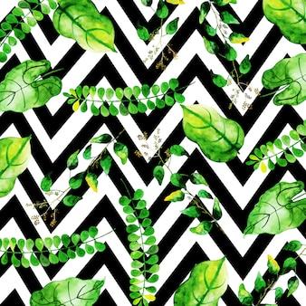 Patrón de hojas tropicales en estilo acuarela con rayas