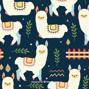 Patrón de linda alpaca con plantas