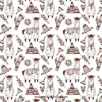 Patrón de lindas alpacas en estilo hecho a mano