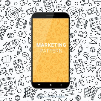 Patrón de marketing dibujado a mano