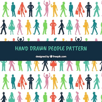 Patrón de personas en estilo hecho a mano