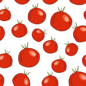 Patrón de vector inconsútil con tomates.