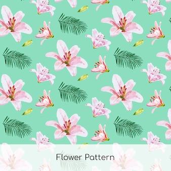 Patrón de verano tropical con flores de acuarela