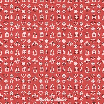 Patrón con decoración de navidad contorneados