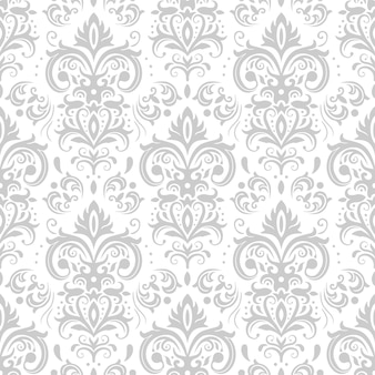 Patrón decorativo de damasco. adorno vintage, flores barrocas y adornos florales ornamentados venecianos plateados fondo transparente