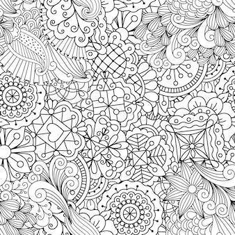 Patrón decorativo con flores lineales.
