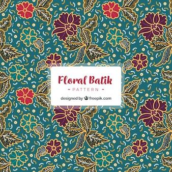 Patrón decorativo con flores vintage batik