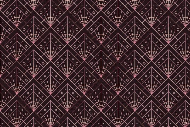 Patrón decorativo de oro rosa sobre fondo oscuro
