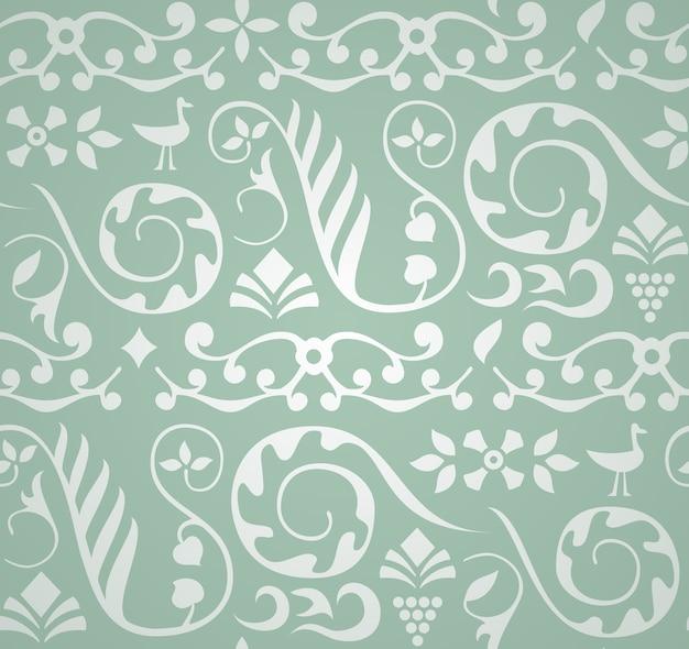 Patrón decorativo con pájaros y elementos de plantas