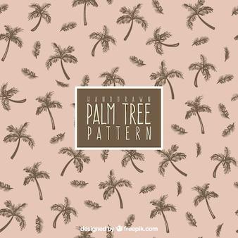 Patrón decorativo con palmeras dibujadas a mano