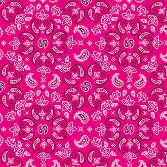 Patrón decorativo pañuelo paisley rosa