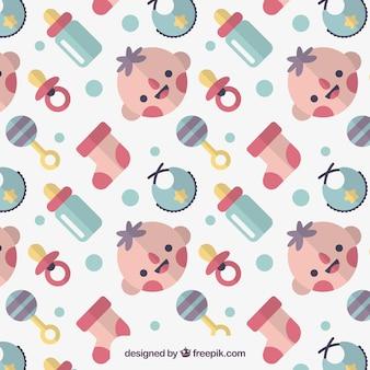 Patrón decorativo plano con niño sonriente y elementos de bebé