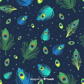Patrón decorativo de plumas de pavo real