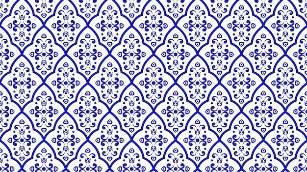 Patrón decorativo en porcelana sin costuras estilo damasco.