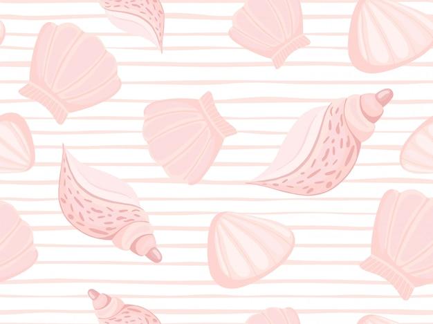 Patrón decorativo raya rosa conchas marinas