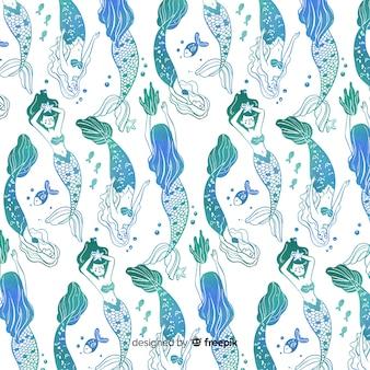 Patrón degradado azul sirenas dibujadas a mano