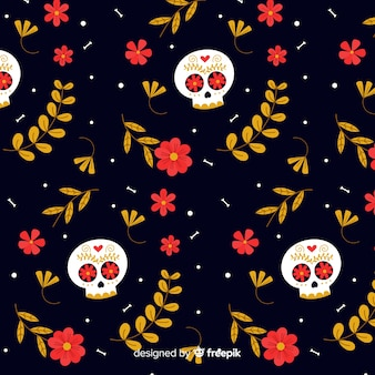 Patrón de día de muertos de calaveras florecidas