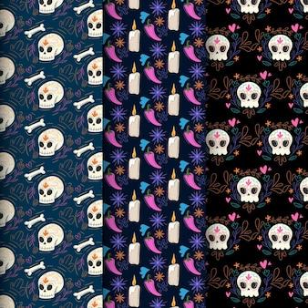 Patrón del día de muertos con diseño plano de huesos.