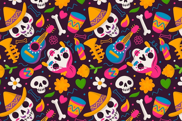 Patrón de dia de muertos en diseño plano