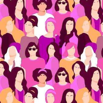 Patrón del día de la mujer con caras diversas