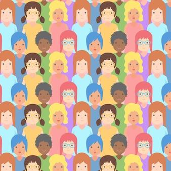 Patrón del día de la mujer con caras de mujeres