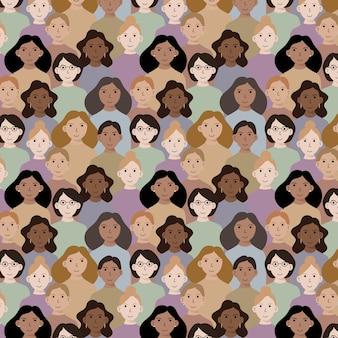 Patrón del día de la mujer con caras