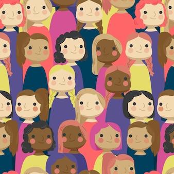 Patrón del día de la mujer con diferentes rostros de mujeres.