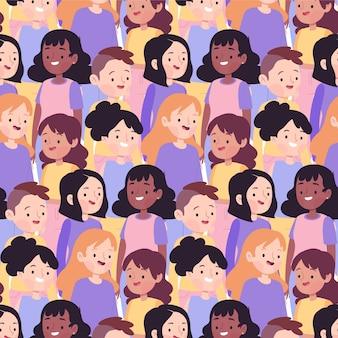 Patrón del día de la mujer con diversos rostros de mujeres.