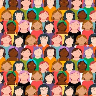 Patrón del día de la mujer con una variedad de rostros de mujeres.