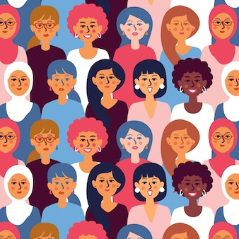 Patrón del día de las mujeres con caras