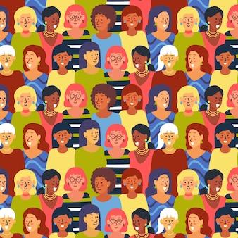 Patrón del día de las mujeres con concepto de caras